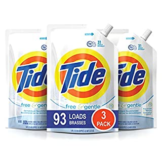 Tide Free and Gentle HE Laundry Detergent, 3 Pack of 48 oz. Pouches, Unscented and Hypoallergenic for Sensitive Skin, 93 Loads (B01D2ZN5LK) | Amazon price tracker / tracking, Amazon price history charts, Amazon price watches, Amazon price drop alerts