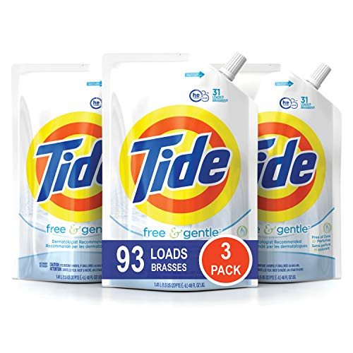 - Tide Free and Gentle HE Laundry Detergent, 3 Pack of 48 oz. Pouches, Unscented and Hypoallergenic for Sensitive Skin, 93 Loads