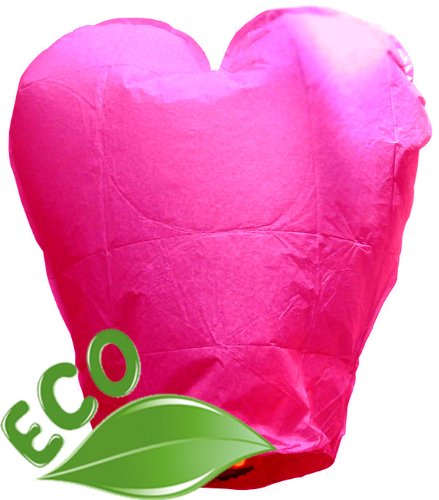 Just Artifacts ECO Wire-Free Flying Chinese Sky Lanterns (Set of 10, Heart, Pink) - 100% Biodegradable, Environmentally Friendly Lanterns! ()