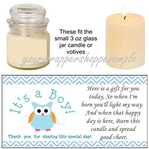56 Blue Owl Baby Shower Candle Party Favor Labels It's a Boy! -