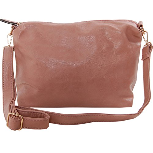 Humble Chic Crossbody Bag - Vegan Leather Satchel Messenger Hobo Handbag Shoulder Purse, Dusty Rose, Light Pink, (Dusty Bag)