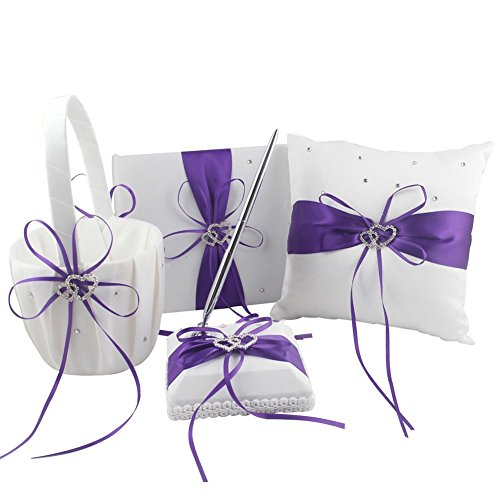 Four Wedding Accesorries Sets High Quality Wedding Guest Book +Pen Set +Flower Girl Basket + Ring Pillow, Double Hearts Rhinestone Elegant Wedding Ceremony Purple Party Favor Sets (Rhinestone Pillow)