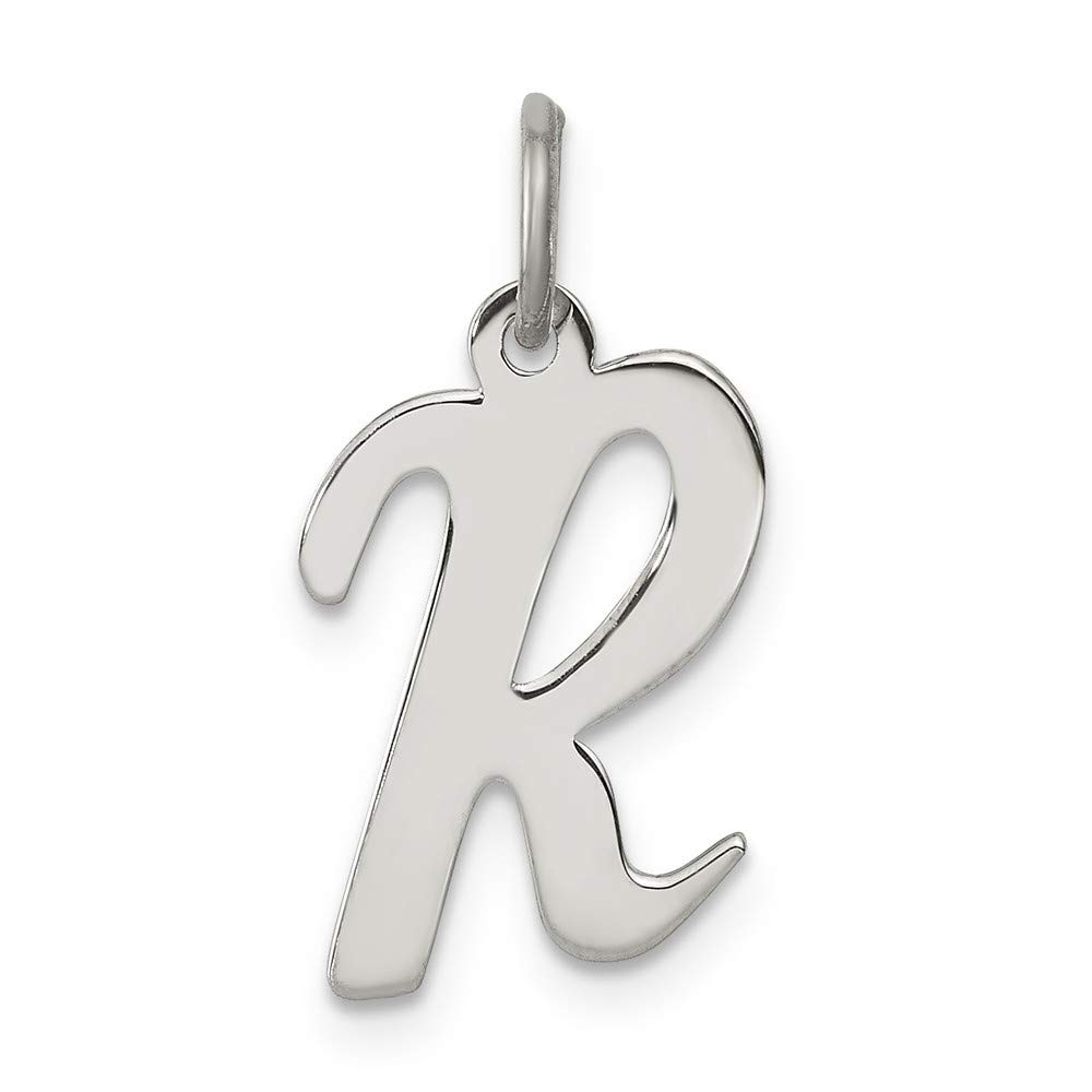 Sterling Silver Medium Script Initial R Charm