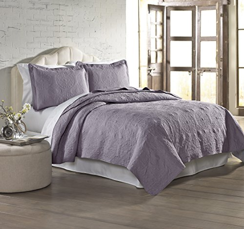 Amrapur Overseas 3-Piece Solid Embroidered Quilted Coverlet Set, King, Lavender (Lavender Set Quilt)