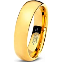 Tungsten Wedding Band Ring 5mm for Men Women Comfort Fit 18K Yellow Gold Plated Domed Polished
