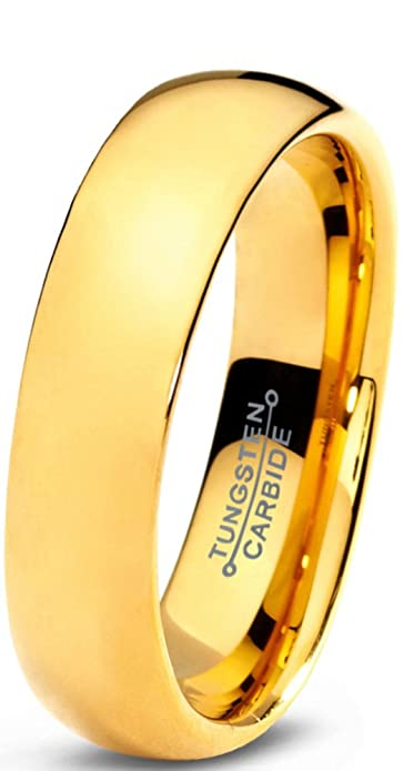 Tungsten Wedding Band Ring 5mm for Men Women Comfort Fit 18K Yellow Gold Plated Domed Polished Lifetime Guarantee B015URB9AW