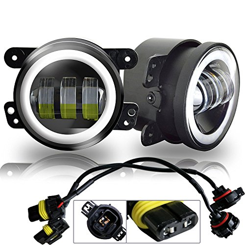 AUSI White Halo Ring 4 inch Round Led Fog Lights Offroad Lamps Front Bumper Light DRL for Subaru Impreza Land Cruiser Pontiac Grand Am Ford Jeep Wrangler JK JKU TJ LJ Sahara Rubicon Mazda Miata Truck