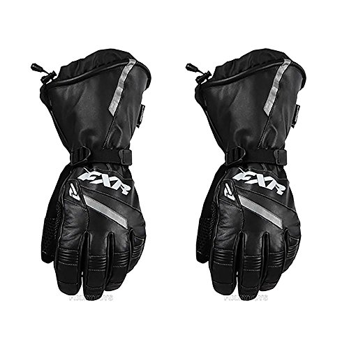FXR Mens Racing Snowmobile Insulated Waterproof Leather Gauntlet Glove - Black - Small (Fxr Snowmobile Gloves)