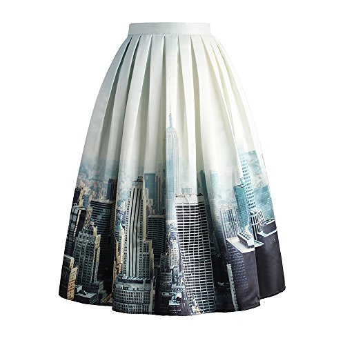 Chicwish Women's Grey New York City Skyline Scenery Print Pleated A-line Midi Skirt (Pleated York Skirt New)