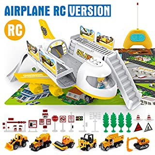 Car Set with Transport RC Airplane Toy for Kids, 6 Construction Die-cast Vehicle Set with Large Play Mat, Toy Airplanes for Boys, Girls, Toddler with RC, Lights and Music, Gift for 3 4 5 6 Years Old
