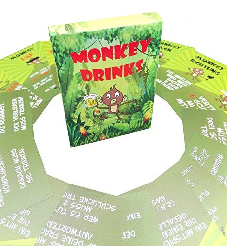Trinkspiele - MONKEYDRINKS® - DIE Trinkspiel Innovation [wasserfeste Spielkarten] (Partyspiele, Kartenspiel, Party Zubehör)