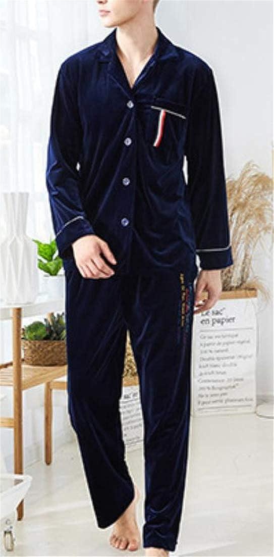Hajotrawa Men Nightie Lounge 2 Pcs Pure Color Autumn Winter Velour Pajama Set