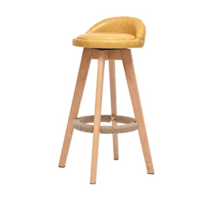 Bar Stool Solid Wood High Chair Home Front High Stool, 360 Degree Rotating  High Stool