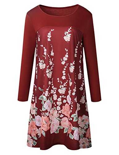 Dress Pleated With Print 4 Sleeve Floral Flare Red Pockets Women's 3 Neck Round WLLW P8TwvZqZ