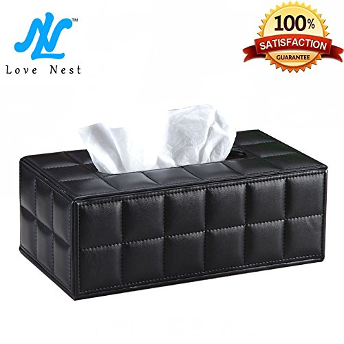 Love Nest PU Soft Sheep Leather High Class and Fashionable Tissue Box Rectangle/Tissue Box Cover Large Size (1, sheep leather black) by Love Nest (Image #8)