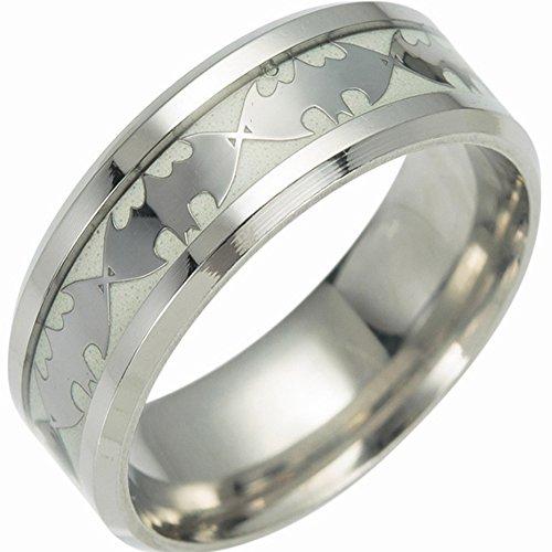 huplue iluminación anillos brilla en la oscuridad Batman/Anillo/letras calavera Punk estilo luminoso anillo de banda anillo...