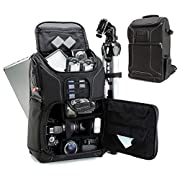 USA GEAR DSLR Camera Backpack Case – 15.6 inch Laptop Compartment, Padded Custom Dividers, Tripod Holder, Rain Cover…