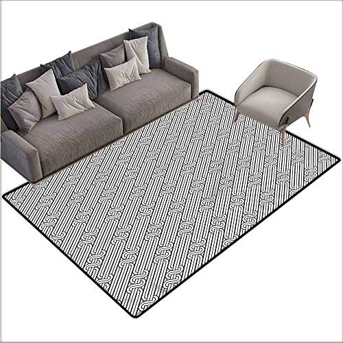 (Floor Mat Kitchen Long Carpet Abstract,Monochrome Swirls 64