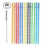 : Reusable Plastic Straws, BPA-Free. Senfhome Colorful 25 Pieces 9 Inch Thick Plastic Drinking Straw for Party or Family Use, with Free Cleaning Brush.