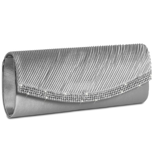 colours Clutch Satin CASPAR Womens Sparkling Silver TA291 Rhinestones Bag with many Evening ZzFx5awxq