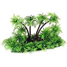uxcell® Plastic Aquarium Fishbowl Artificial Coconut Tree Plant Ornament 16 x 8.5 x 10.5cm Green