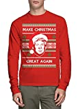 Long Sleeve Men's Trump Make Christmas Great Again Ugly Christmas Shirt (Red, X-Large)