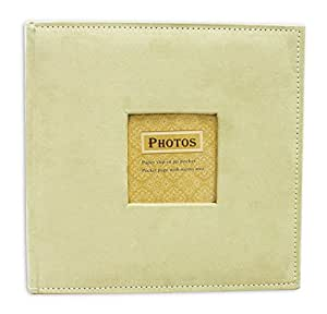 "Golden State Art Photo Album, Holds 200 4""x6"" pictures, 2 per page, Suede Cover, Beige"