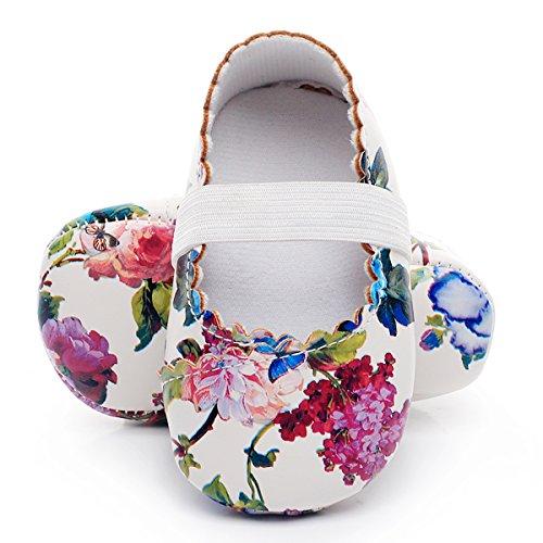 HONGTEYA Print Flower Baby Girls Shoes Mary Jane Baby Sandals (6-12M/4.72inch, White Flower)