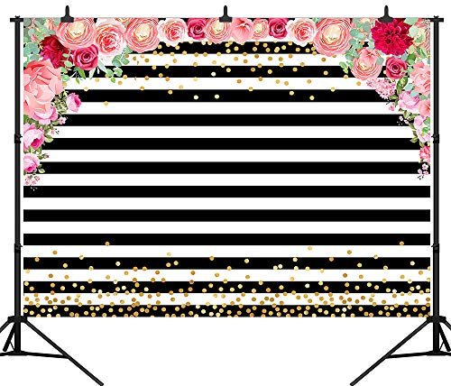 DePhoto 7X5FT(210X150CM) Watercolor Pink Rose Floral Black and White Stripe Birthday Party Wedding Decor Decorations Baby Shower Vinyl Photography Backdrop Background PGT382A (Pink Black And White Baby Shower Decorations)
