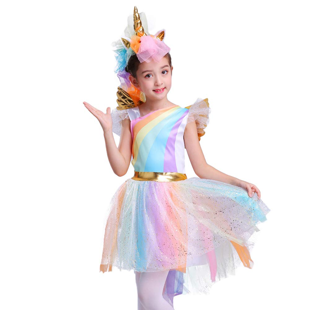 Girl's Rainbow Unicorn Costume Halloween Party Tutu Dress con fascia alata
