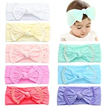 Prohouse 8PCS Super Stretchy Knot Nylon Baby Headbands For Newborn Baby Girls Infant Toddlers Kids