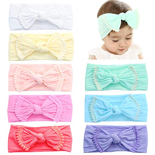 Prohouse 8PCS Super Stretchy Knot Nylon Baby Headbands For Newborn Baby Girls Infant Toddlers Kids (Pom Poms-8PCS) ()