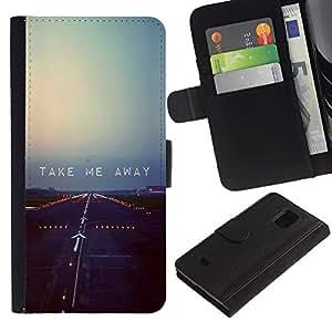 LASTONE PHONE CASE / Lujo Billetera de Cuero Caso del tirón Titular de la tarjeta Flip Carcasa Funda para Samsung Galaxy S5 Mini, SM-G800, NOT S5 REGULAR! / Plane Runway Takeoff Quote Motivational