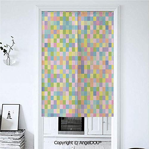 (AngelDOU Pastel Summer Automatic Closing Curtains Valances Colorful Squares Pattern Checkered Mosaic Style Mottled Cubical Tile Grid Print Door Screen Partition Curtain. 33.5x59 inches)