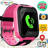 Xenzy Smart Watch Phone for Kids GPS Tracker Call Phone Smartwatch Camera SOS Wristband Anti-lost Alarm Clock Flashlight for Boys Girls Teens Summer Holiday Outdoor Activity Sport Prime Gifts, Pink