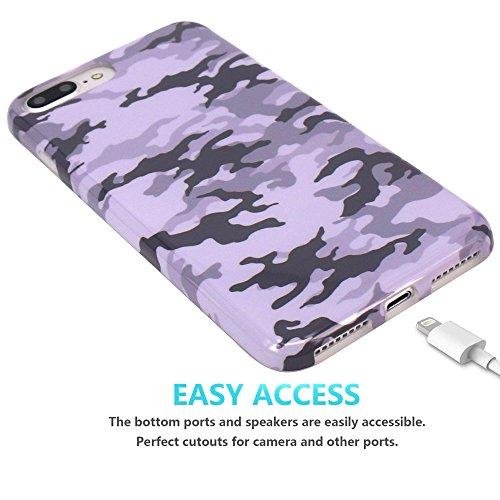 Coque iPhone 7 Plus, Coque iPhone 8 Plus, JIAXIUFEN Silicone TPU Étui Housse Souple Antichoc Protecteur Cover Case - Gris Camouflage Camo Désign