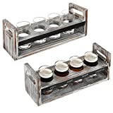 MyGift Set of 2 Torched Wood Beer Flight Serving Caddies with Chalkboard Panels & 4 Tasting Glasses