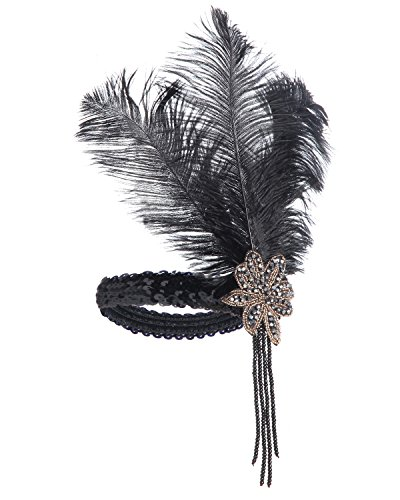 JustinCostume Women's 1920's Flapper Headband with Feather, (J Fancy Dress Costumes)