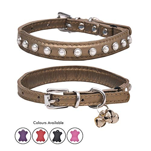 (Ultra Soft Real Lamb Leather Glass White Pearl Studded Cat Collar with Break Away Safety Elastic Embellished with Detachable Handcrafted Indian Bells (One Size, Gold))