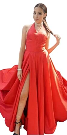 Yangprom Long Halter A-Line Prom Dress Sleeveless Satin Evening Gown With Slit 2