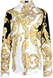 (US) Pizoff Mens Long Sleeve Luxury Golden Contrast Flowers Floral Print Dress Shirt Y1706-20-S