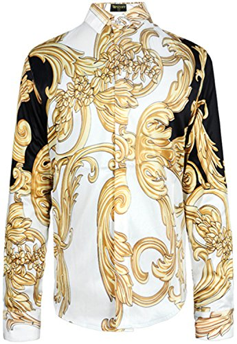 - PIZOFF Mens Long Sleeve Luxury Golden Contrast Flowers Floral Print Dress Shirt Y1706-20-M
