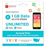 Red Pocket Mobile Express Annual Prepaid Phone Plan, No Contract, Free SIM Kit; Unlimited Talk, Unlimited Text & 1 GB of LTE Data - Only $17/Month