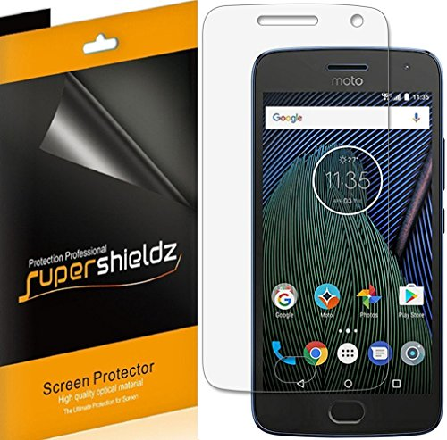 (6 Pack) Supershieldz for Motorola (Moto G5 Plus) and Moto G Plus (5th Generation) Screen Protector, High Definition Clear Shield (PET) (Gs5 Case Custom)