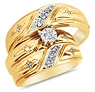 10k Yellow OR White Gold Diamond Cross on Side Mens And Ladies Couple His & Hers Trio 3 Three Ring…