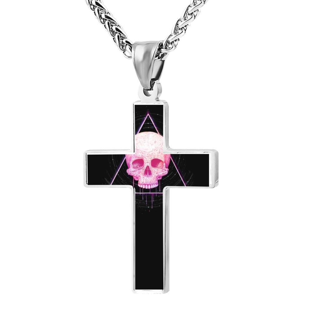 FollowC Skull in triangle Cross Pendant 24 Inches Jewelry Zinc Alloy Chain Necklace for Men Women