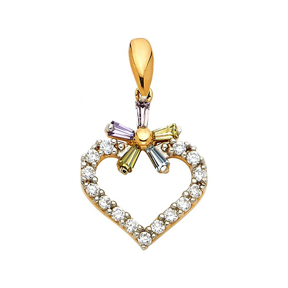 American Set Co 14k Yellow Gold Heart with Multi-Color-Color CZ Pendant Charm