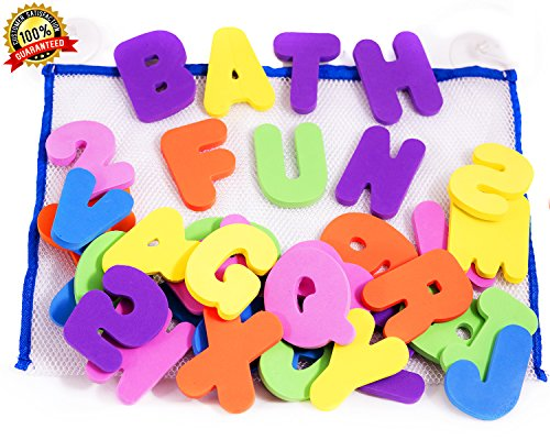 BATH LETTERS AND NUMBERS 36 Piece Set Foam Bath Alphabet Letters and Numbers 0 - 9 , with Mesh Bag Bath Toy Organizer. The Best Educational Bath Toys. Non Toxic EVA Foam. Bath Time Fun ()