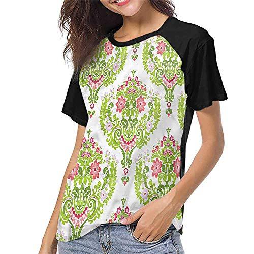 Women T Shirts Fashion,Damask,Green Foliage Eastern S-XXL Women Casual Girl Tops ()