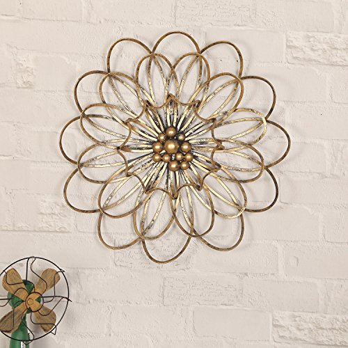 Asense Gold Florence Metel Wall Decor - gold wall art